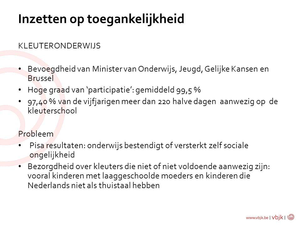 KLEUTERONDERWIJS Bevoegdheid van Minister van Onderwijs, Jeugd, Gelijke Kansen en Brussel Hoge graad van 'participatie': gemiddeld 99,5 % 97,40 % van