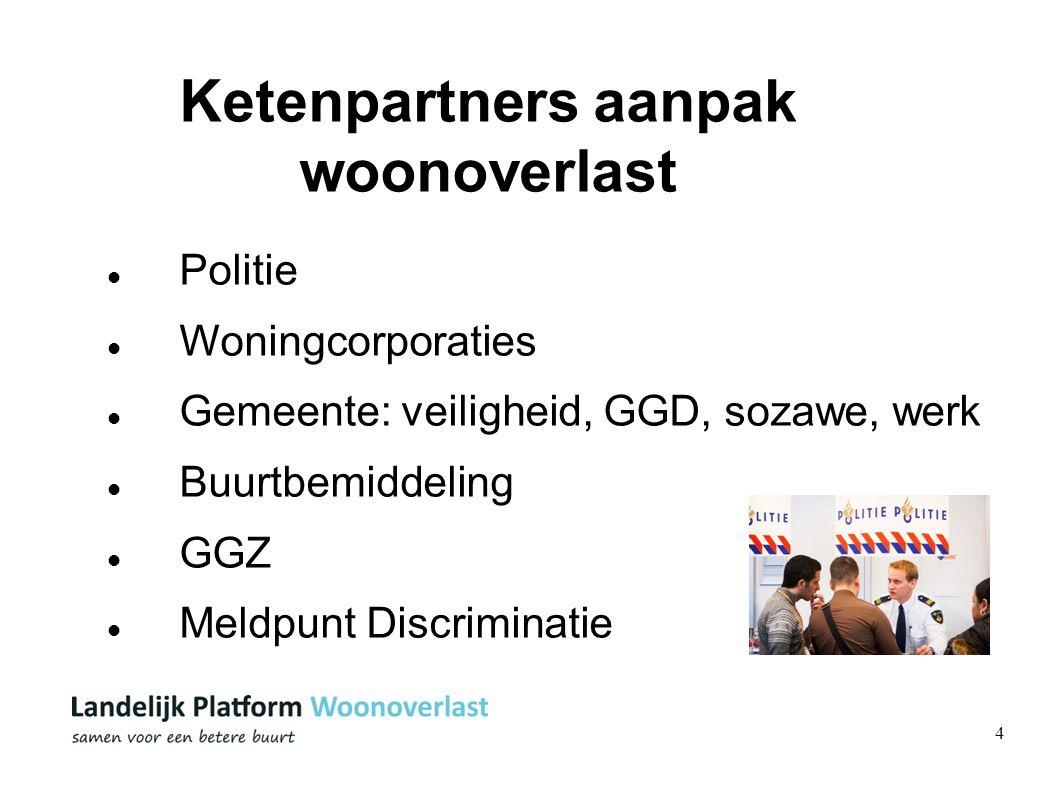 4 Ketenpartners aanpak woonoverlast Politie Woningcorporaties Gemeente: veiligheid, GGD, sozawe, werk Buurtbemiddeling GGZ Meldpunt Discriminatie