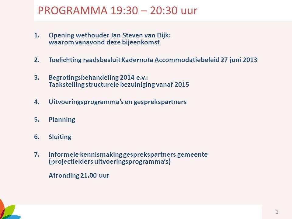2 1.Opening wethouder Jan Steven van Dijk: waarom vanavond deze bijeenkomst 2.Toelichting raadsbesluit Kadernota Accommodatiebeleid 27 juni 2013 3.Beg