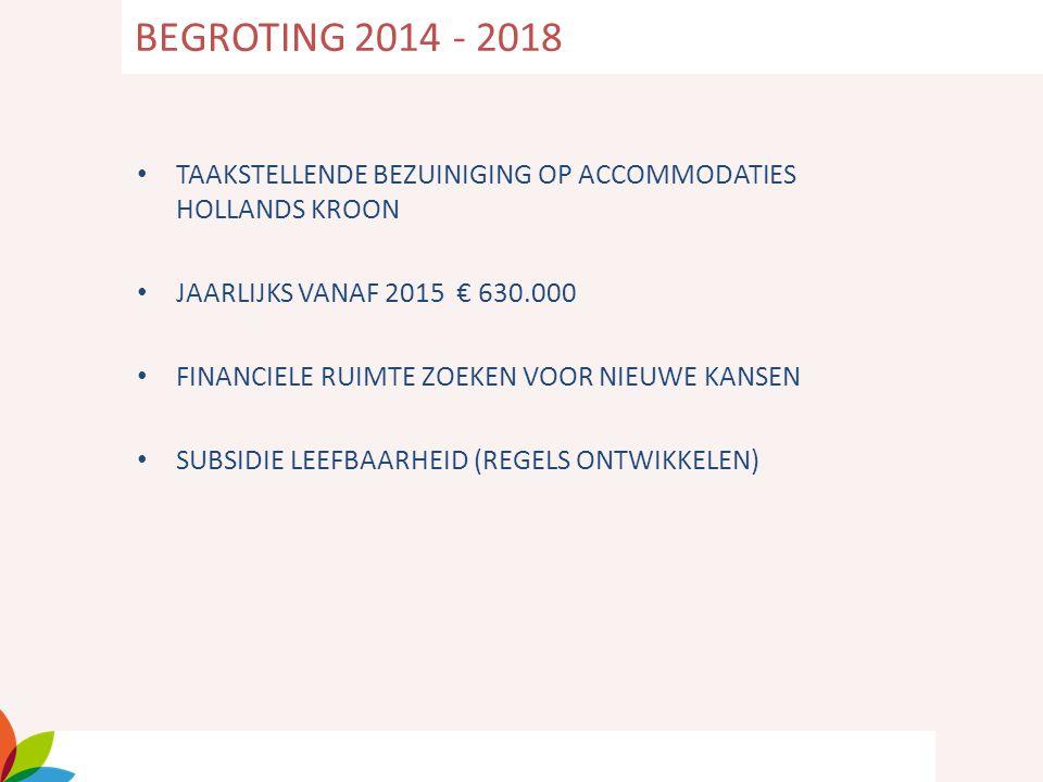 TAAKSTELLENDE BEZUINIGING OP ACCOMMODATIES HOLLANDS KROON JAARLIJKS VANAF 2015 € 630.000 FINANCIELE RUIMTE ZOEKEN VOOR NIEUWE KANSEN SUBSIDIE LEEFBAAR