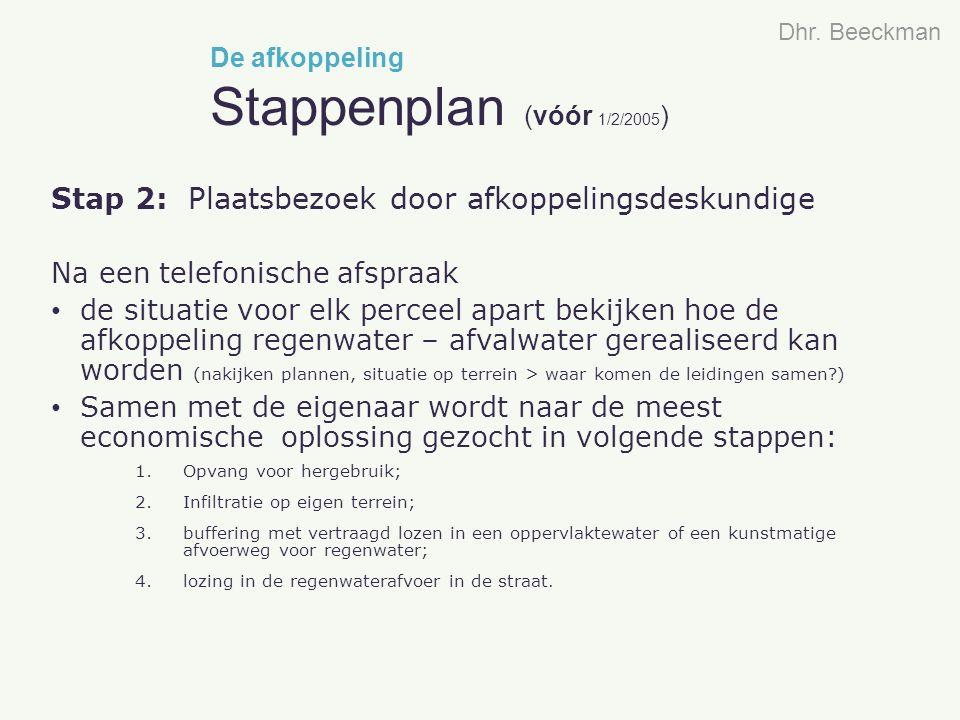 Stap 2: Plaatsbezoek door afkoppelingsdeskundige Na een telefonische afspraak de situatie voor elk perceel apart bekijken hoe de afkoppeling regenwate