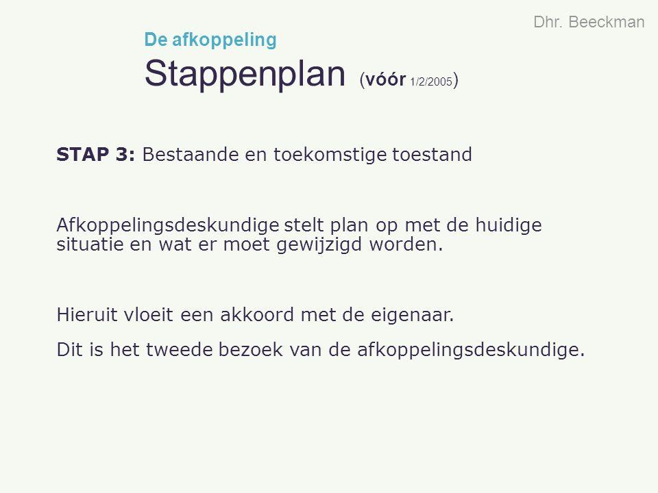 STAP 3: Bestaande en toekomstige toestand Afkoppelingsdeskundige stelt plan op met de huidige situatie en wat er moet gewijzigd worden. Hieruit vloeit