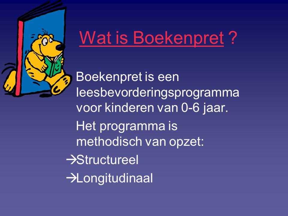 Wat is Boekenpret ? Boekenpret is een leesbevorderingsprogramma voor kinderen van 0-6 jaar. Het programma is methodisch van opzet:  Structureel  Lon