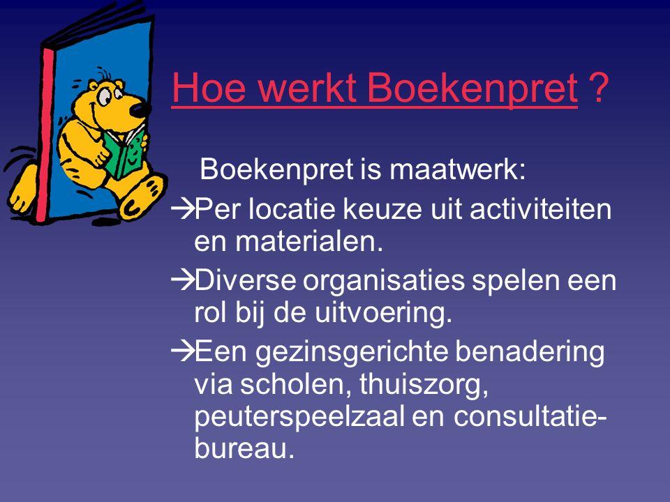 Hoe werkt Boekenpret ? Boekenpret is maatwerk:  Per locatie keuze uit activiteiten en materialen.  Diverse organisaties spelen een rol bij de uitvoe