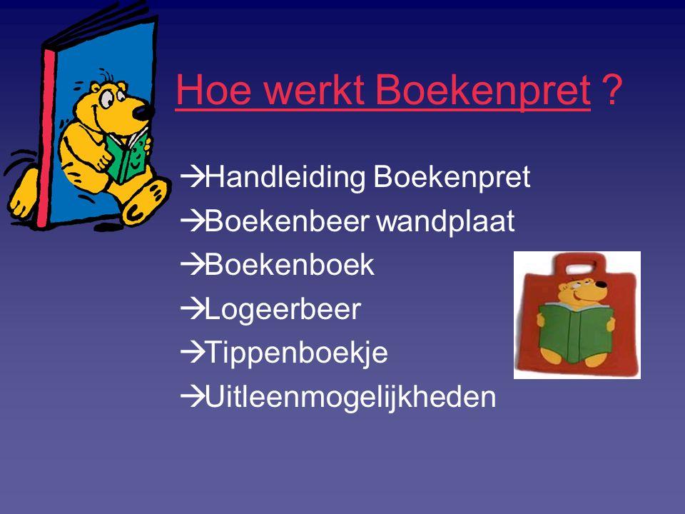 Hoe werkt Boekenpret ?  Handleiding Boekenpret  Boekenbeer wandplaat  Boekenboek  Logeerbeer  Tippenboekje  Uitleenmogelijkheden