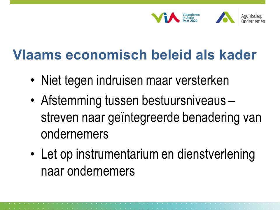 Vlaams economisch beleid als kader Niet tegen indruisen maar versterken Afstemming tussen bestuursniveaus – streven naar geïntegreerde benadering van ondernemers Let op instrumentarium en dienstverlening naar ondernemers