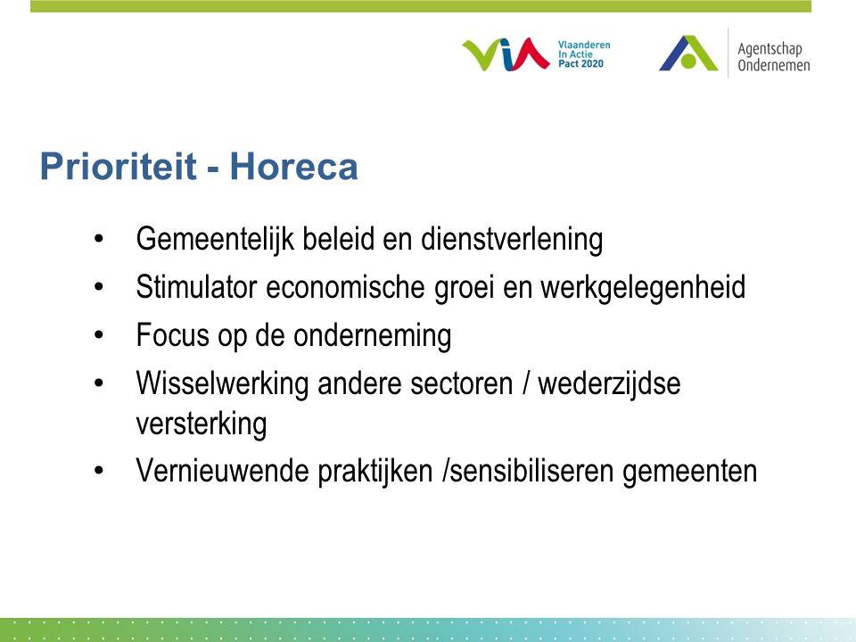 Prioriteit - Horeca Gemeentelijk beleid en dienstverlening Stimulator economische groei en werkgelegenheid Focus op de onderneming Wisselwerking andere sectoren / wederzijdse versterking Vernieuwende praktijken /sensibiliseren gemeenten