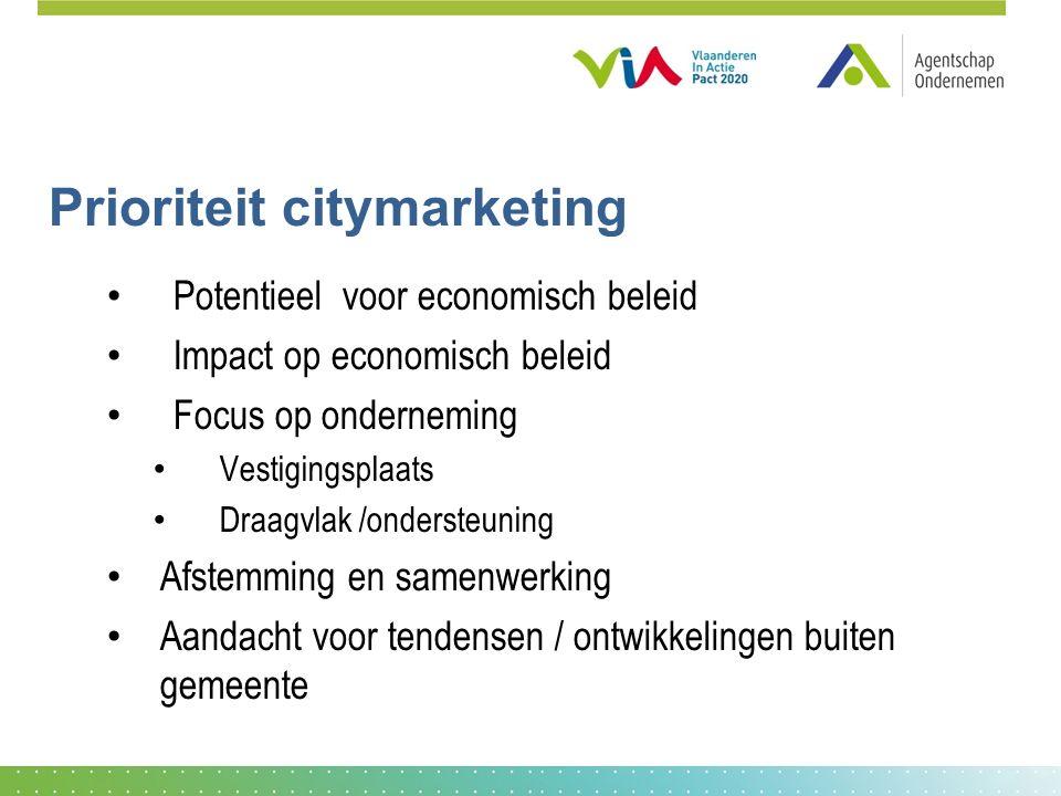 Prioriteit citymarketing Potentieel voor economisch beleid Impact op economisch beleid Focus op onderneming Vestigingsplaats Draagvlak /ondersteuning Afstemming en samenwerking Aandacht voor tendensen / ontwikkelingen buiten gemeente