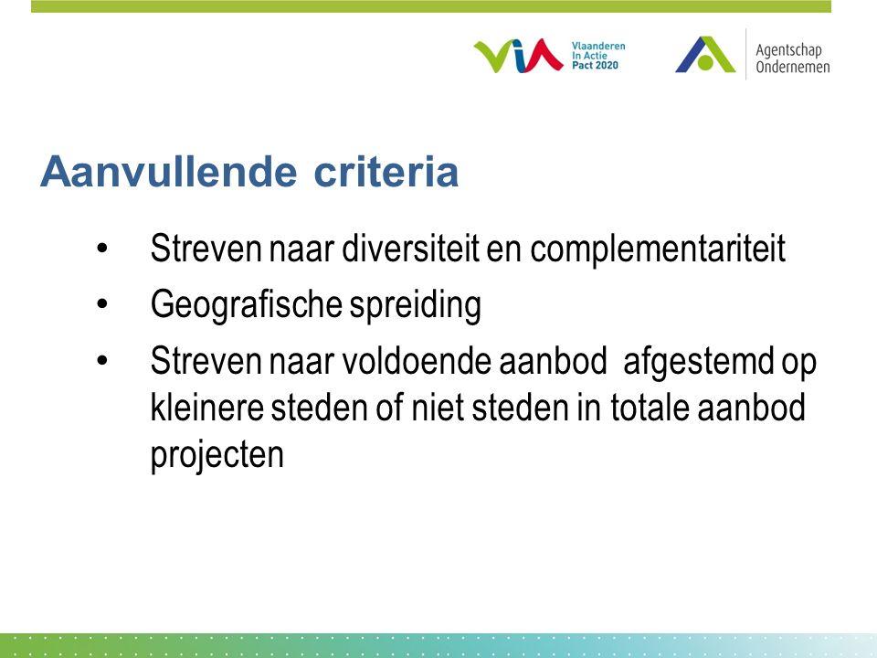 Aanvullende criteria Streven naar diversiteit en complementariteit Geografische spreiding Streven naar voldoende aanbod afgestemd op kleinere steden of niet steden in totale aanbod projecten