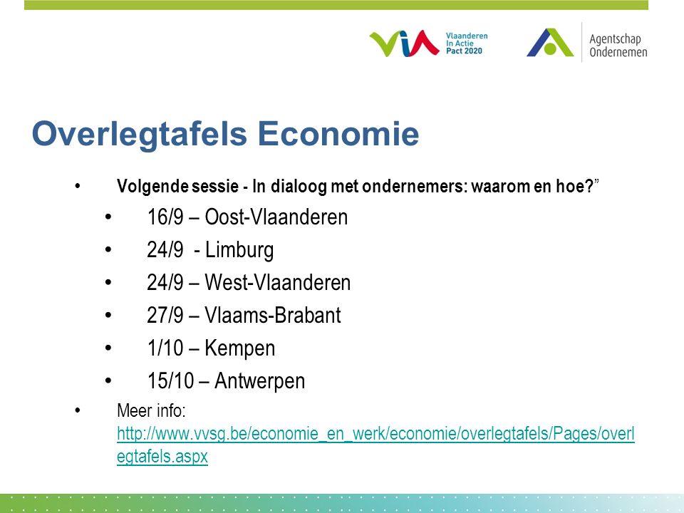 Overlegtafels Economie Volgende sessie - In dialoog met ondernemers: waarom en hoe.