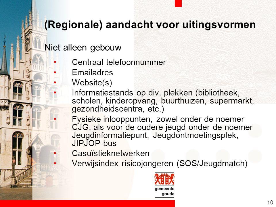 10 (Regionale) aandacht voor uitingsvormen Centraal telefoonnummer Emailadres Website(s) Informatiestands op div.