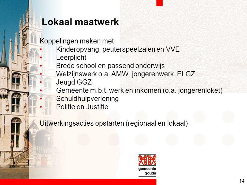 14 Lokaal maatwerk Koppelingen maken met Kinderopvang, peuterspeelzalen en VVE Leerplicht Brede school en passend onderwijs Welzijnswerk o.a.
