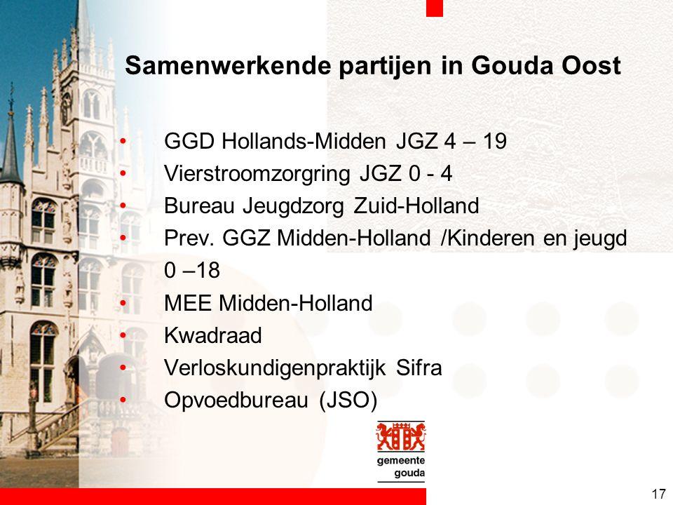 17 Samenwerkende partijen in Gouda Oost GGD Hollands-Midden JGZ 4 – 19 Vierstroomzorgring JGZ 0 - 4 Bureau Jeugdzorg Zuid-Holland Prev.