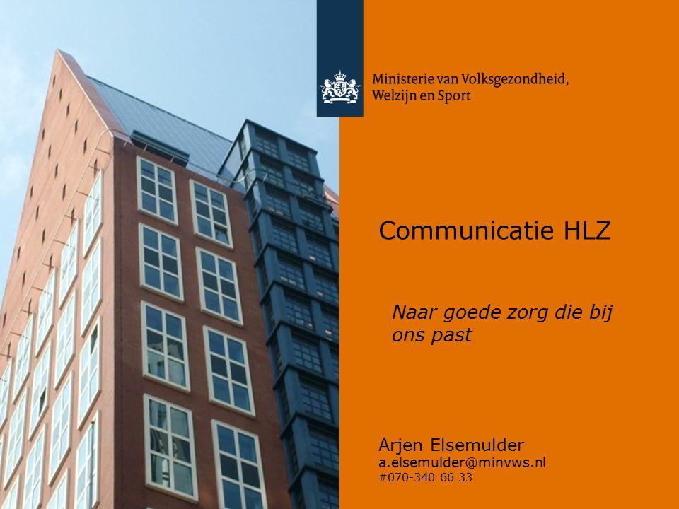 Communicatie HLZ Arjen Elsemulder a.elsemulder@minvws.nl #070-340 66 33 Naar goede zorg die bij ons past