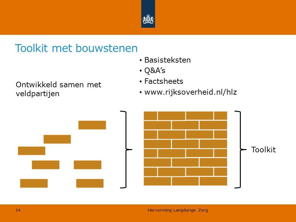 Hervorming Langdurige Zorg 14 Toolkit met bouwstenen Ontwikkeld samen met veldpartijen Basisteksten Q&A's Factsheets www.rijksoverheid.nl/hlz Toolkit