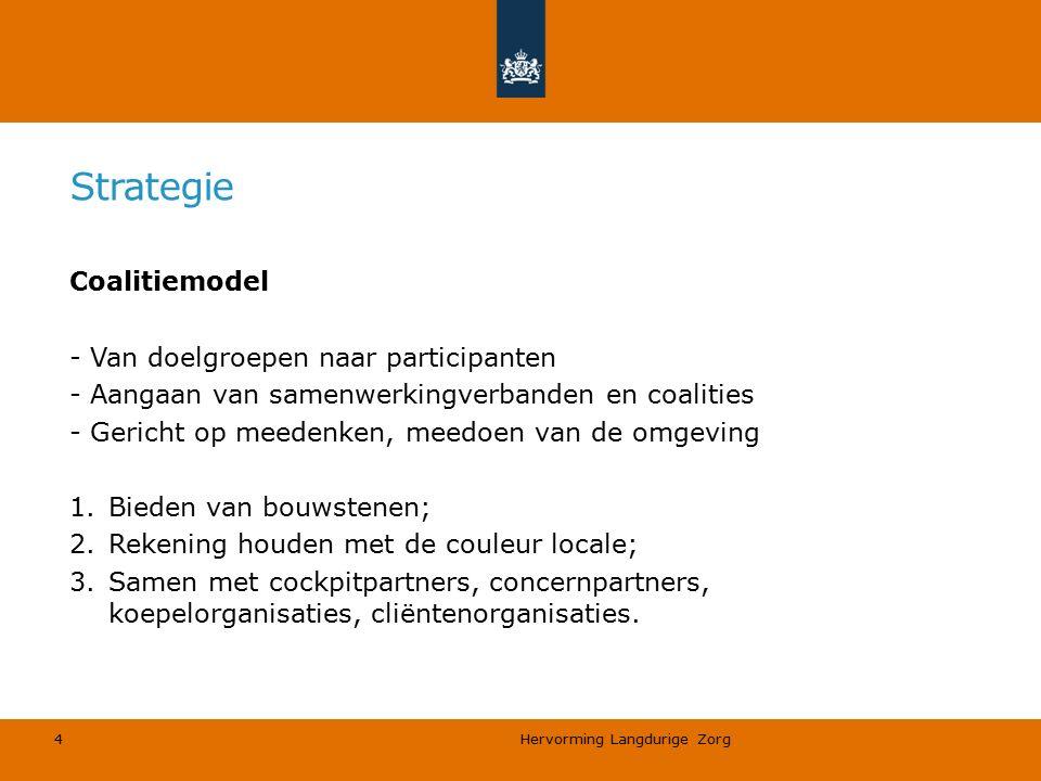 Hervorming Langdurige Zorg 4 Strategie Coalitiemodel - Van doelgroepen naar participanten - Aangaan van samenwerkingverbanden en coalities - Gericht o