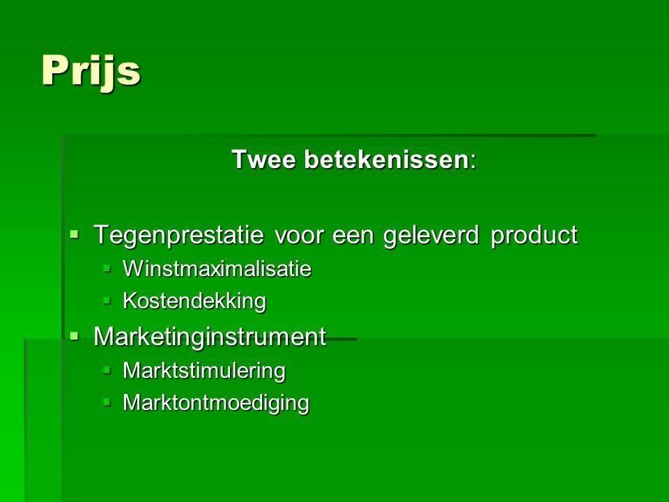 Prijs Twee betekenissen:  Tegenprestatie voor een geleverd product  Winstmaximalisatie  Kostendekking  Marketinginstrument  Marktstimulering  Marktontmoediging