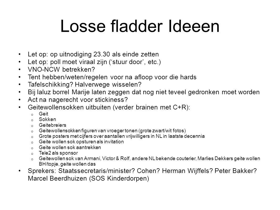 Losse fladder Ideeen Let op: op uitnodiging 23.30 als einde zetten Let op: poll moet viraal zijn ('stuur door', etc.) VNO-NCW betrekken.