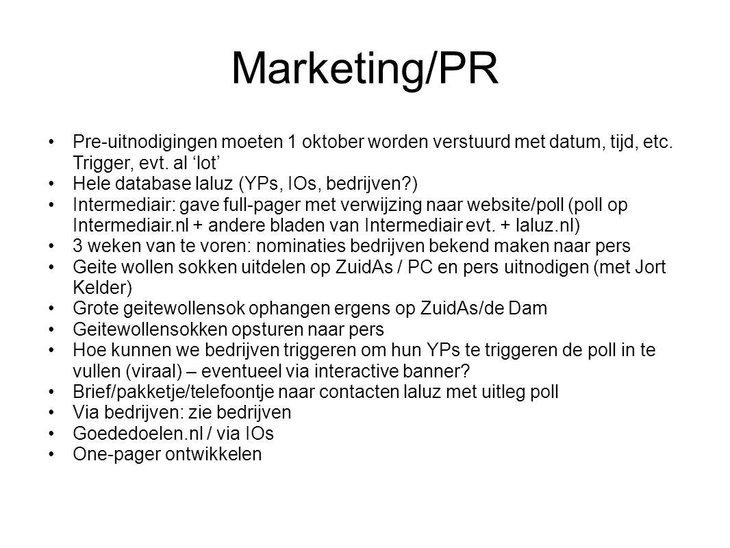 Marketing/PR Pre-uitnodigingen moeten 1 oktober worden verstuurd met datum, tijd, etc.