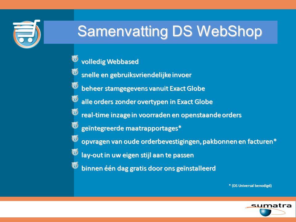 Samenvatting DS WebShop volledig Webbased volledig Webbased snelle en gebruiksvriendelijke invoer snelle en gebruiksvriendelijke invoer beheer stamgeg