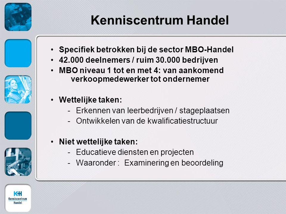 Kenniscentrum Handel Specifiek betrokken bij de sector MBO-Handel 42.000 deelnemers / ruim 30.000 bedrijven MBO niveau 1 tot en met 4: van aankomend v