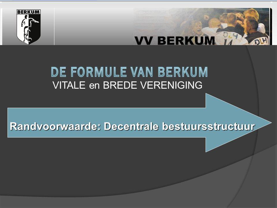 Randvoorwaarde: Decentrale bestuursstructuur Randvoorwaarde: Decentrale bestuursstructuur VITALE en BREDE VERENIGING