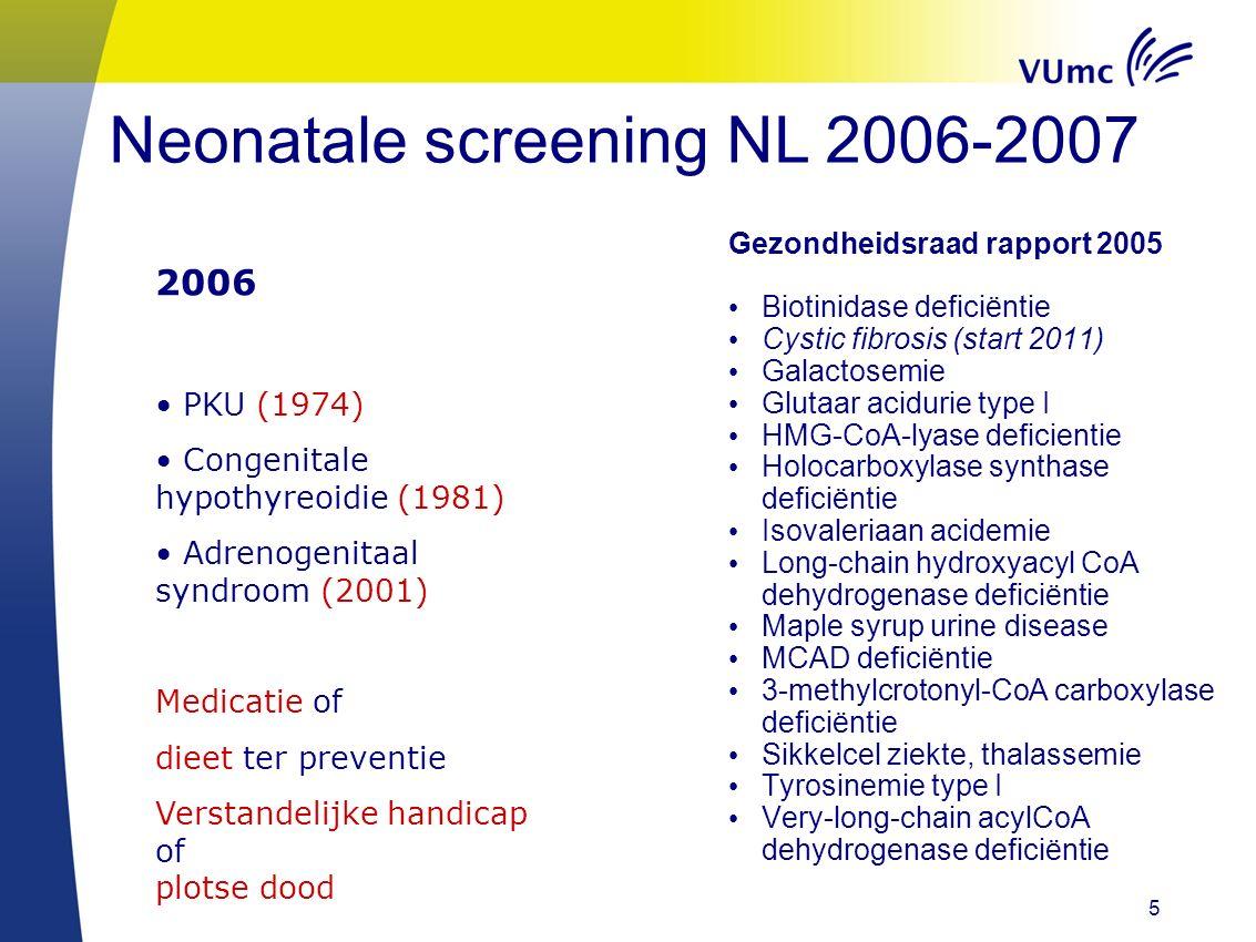 5 Neonatale screening NL 2006-2007 Gezondheidsraad rapport 2005 Biotinidase deficiëntie Cystic fibrosis (start 2011) Galactosemie Glutaar acidurie type I HMG-CoA-lyase deficientie Holocarboxylase synthase deficiëntie Isovaleriaan acidemie Long-chain hydroxyacyl CoA dehydrogenase deficiëntie Maple syrup urine disease MCAD deficiëntie 3-methylcrotonyl-CoA carboxylase deficiëntie Sikkelcel ziekte, thalassemie Tyrosinemie type I Very-long-chain acylCoA dehydrogenase deficiëntie 2006 PKU (1974) Congenitale hypothyreoidie (1981) Adrenogenitaal syndroom (2001) Medicatie of dieet ter preventie Verstandelijke handicap of plotse dood