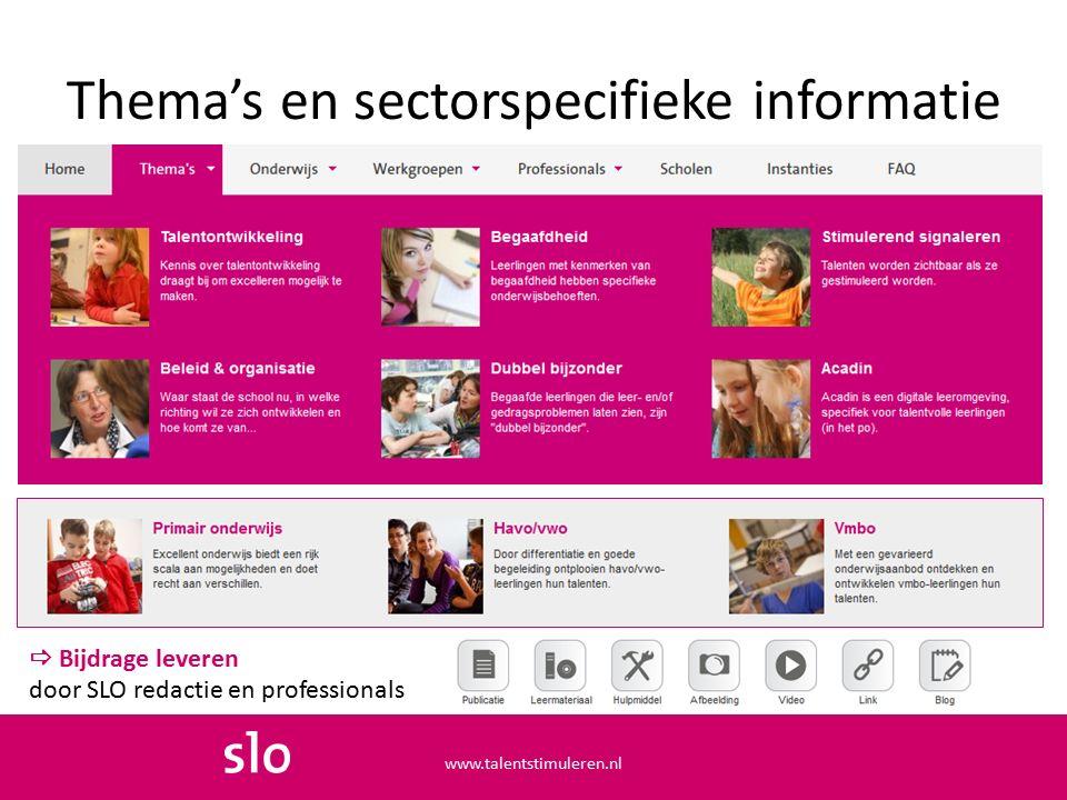 Thema's en sectorspecifieke informatie www.talentstimuleren.nl  Bijdrage leveren door SLO redactie en professionals