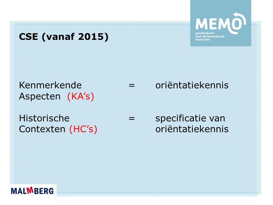CSE (vanaf 2015) Kenmerkende = oriëntatiekennis Aspecten (KA's) Historische = specificatie van Contexten (HC's)oriëntatiekennis