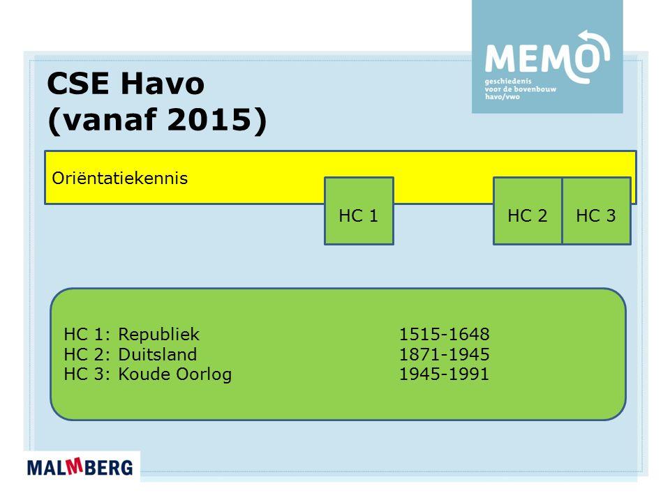 CSE Havo (vanaf 2015) Oriëntatiekennis HC 1: Republiek 1515-1648 HC 2: Duitsland1871-1945 HC 3: Koude Oorlog1945-1991 HC 1HC 2HC 3