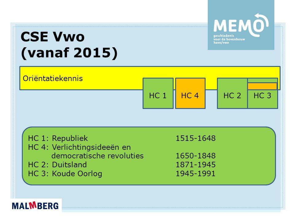 CSE Vwo (vanaf 2015) Oriëntatiekennis HC 1: Republiek 1515-1648 HC 4: Verlichtingsideeën en democratische revoluties1650-1848 HC 2: Duitsland1871-1945 HC 3: Koude Oorlog1945-1991 HC 1HC 2HC 3HC 4