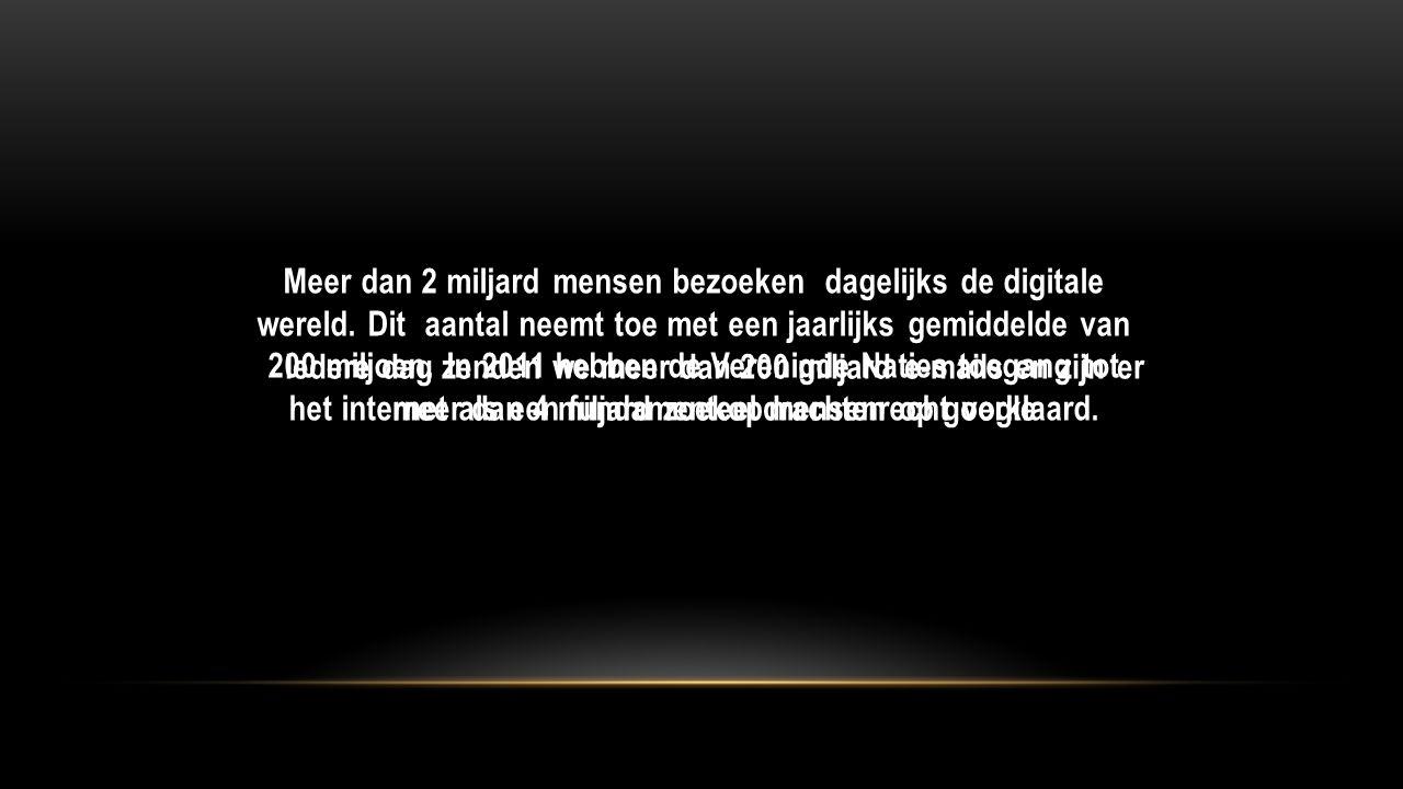 Meer dan 2 miljard mensen bezoeken dagelijks de digitale wereld.