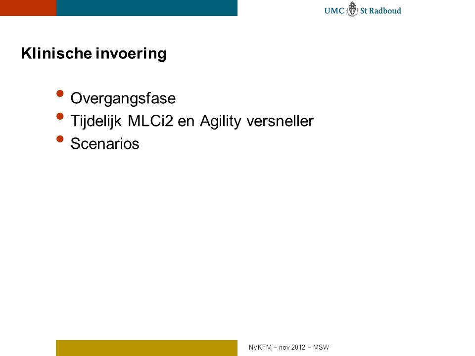 Klinische invoering Overgangsfase Tijdelijk MLCi2 en Agility versneller Scenarios NVKFM – nov 2012 – MSW