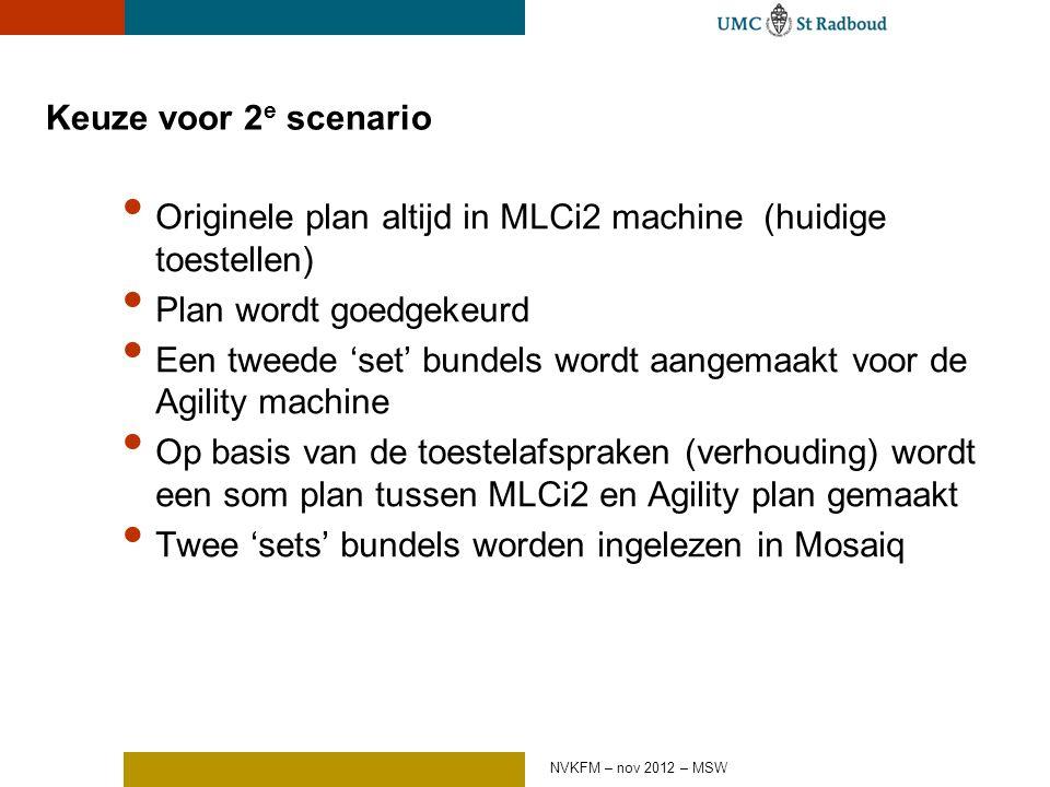 Keuze voor 2 e scenario Originele plan altijd in MLCi2 machine (huidige toestellen) Plan wordt goedgekeurd Een tweede 'set' bundels wordt aangemaakt voor de Agility machine Op basis van de toestelafspraken (verhouding) wordt een som plan tussen MLCi2 en Agility plan gemaakt Twee 'sets' bundels worden ingelezen in Mosaiq NVKFM – nov 2012 – MSW