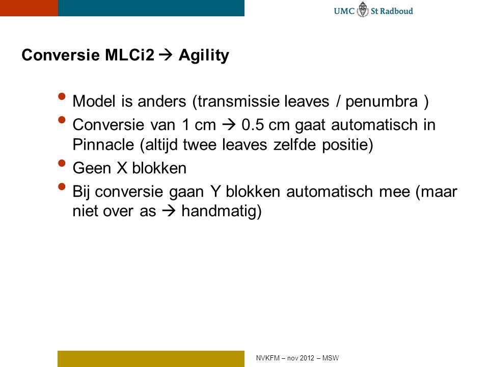 Conversie MLCi2  Agility Model is anders (transmissie leaves / penumbra ) Conversie van 1 cm  0.5 cm gaat automatisch in Pinnacle (altijd twee leaves zelfde positie) Geen X blokken Bij conversie gaan Y blokken automatisch mee (maar niet over as  handmatig) NVKFM – nov 2012 – MSW