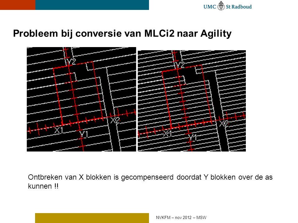 Probleem bij conversie van MLCi2 naar Agility Ontbreken van X blokken is gecompenseerd doordat Y blokken over de as kunnen !.