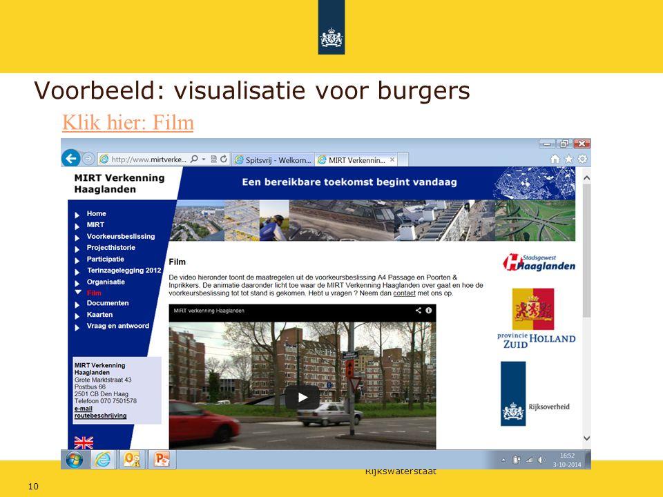 Rijkswaterstaat 10 Voorbeeld: visualisatie voor burgers Klik hier: Film