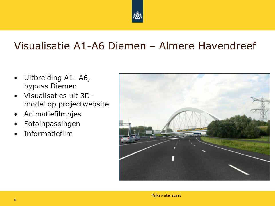 Rijkswaterstaat Visualisatie A1-A6 Diemen – Almere Havendreef Uitbreiding A1- A6, bypass Diemen Visualisaties uit 3D- model op projectwebsite Animatiefilmpjes Fotoinpassingen Informatiefilm 8