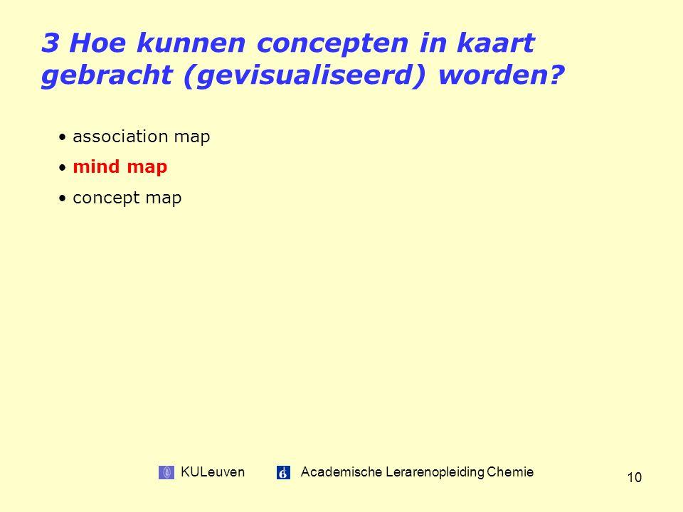 KULeuven Academische Lerarenopleiding Chemie 10 3 Hoe kunnen concepten in kaart gebracht (gevisualiseerd) worden.