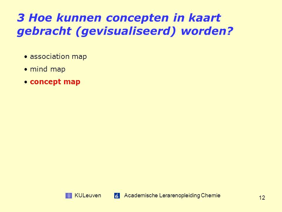 KULeuven Academische Lerarenopleiding Chemie 12 3 Hoe kunnen concepten in kaart gebracht (gevisualiseerd) worden.