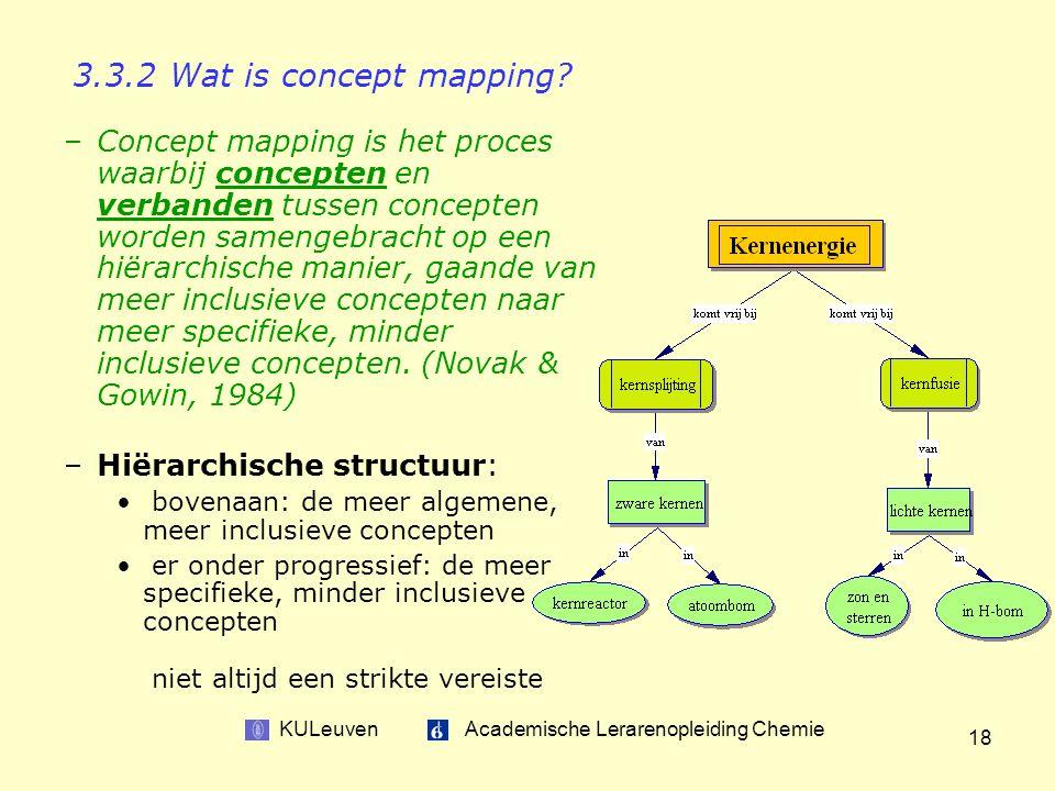 KULeuven Academische Lerarenopleiding Chemie 18 –Concept mapping is het proces waarbij concepten en verbanden tussen concepten worden samengebracht op een hiërarchische manier, gaande van meer inclusieve concepten naar meer specifieke, minder inclusieve concepten.