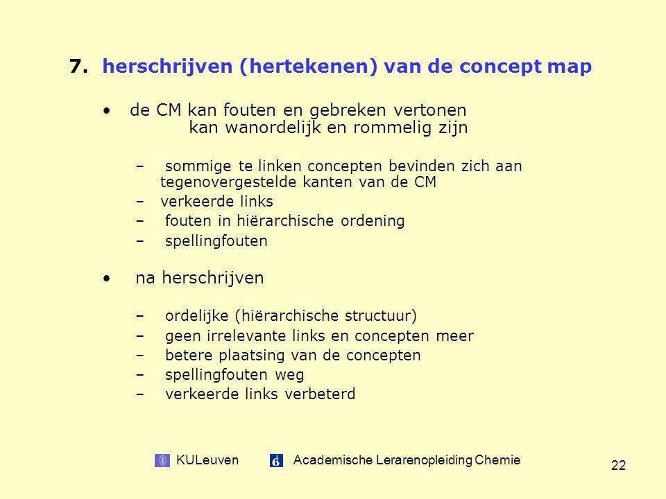 KULeuven Academische Lerarenopleiding Chemie 22 7.herschrijven (hertekenen) van de concept map de CM kan fouten en gebreken vertonen kan wanordelijk en rommelig zijn – sommige te linken concepten bevinden zich aan tegenovergestelde kanten van de CM –verkeerde links – fouten in hiërarchische ordening – spellingfouten na herschrijven – ordelijke (hiërarchische structuur) – geen irrelevante links en concepten meer – betere plaatsing van de concepten – spellingfouten weg – verkeerde links verbeterd
