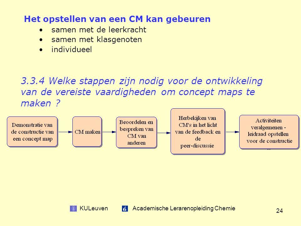 KULeuven Academische Lerarenopleiding Chemie 24 3.3.4 Welke stappen zijn nodig voor de ontwikkeling van de vereiste vaardigheden om concept maps te maken .