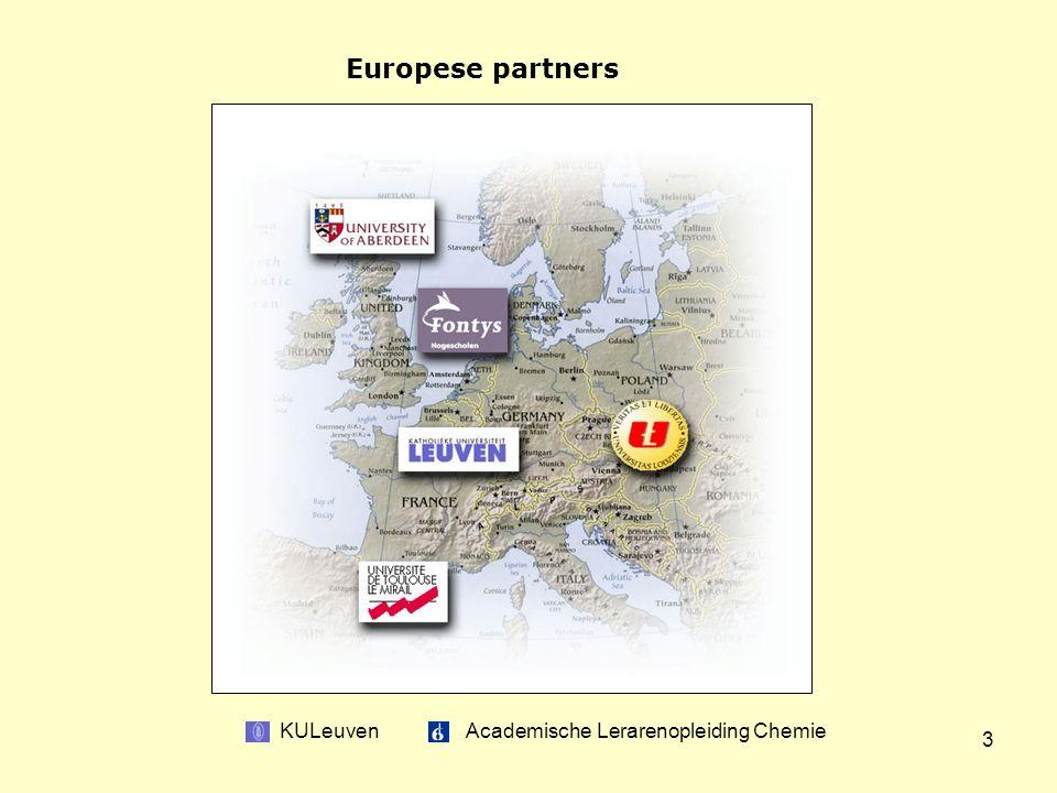 KULeuven Academische Lerarenopleiding Chemie 3 Europese partners