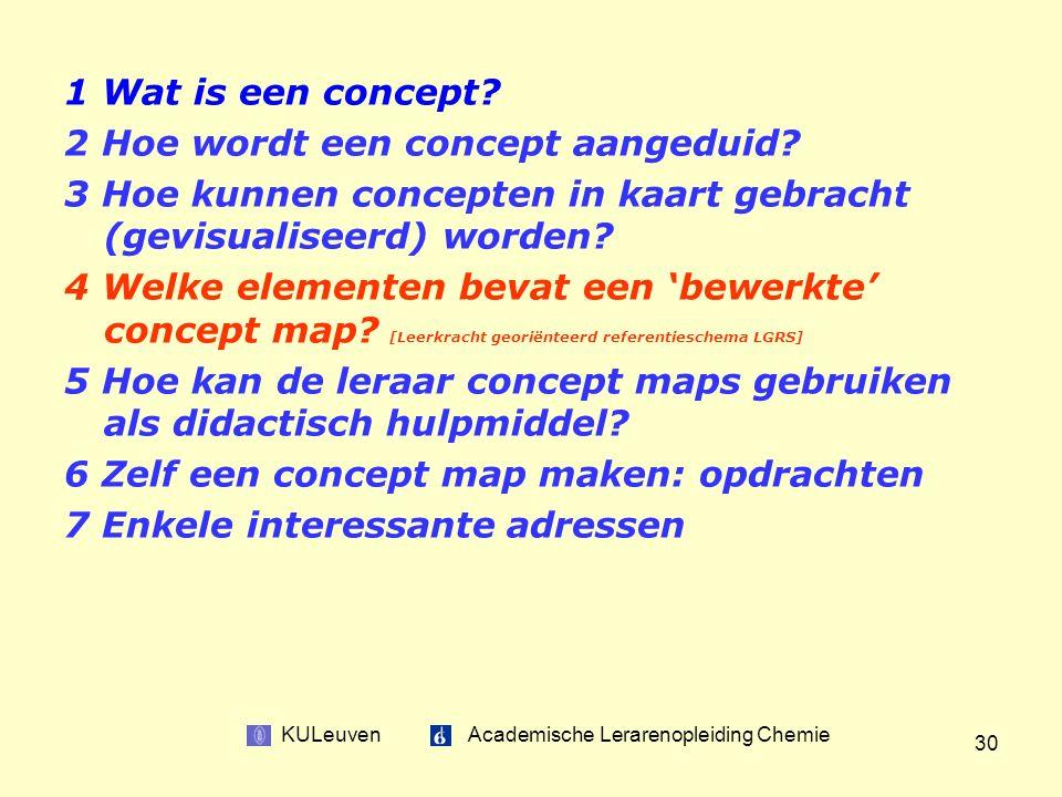 KULeuven Academische Lerarenopleiding Chemie 30 1 Wat is een concept.