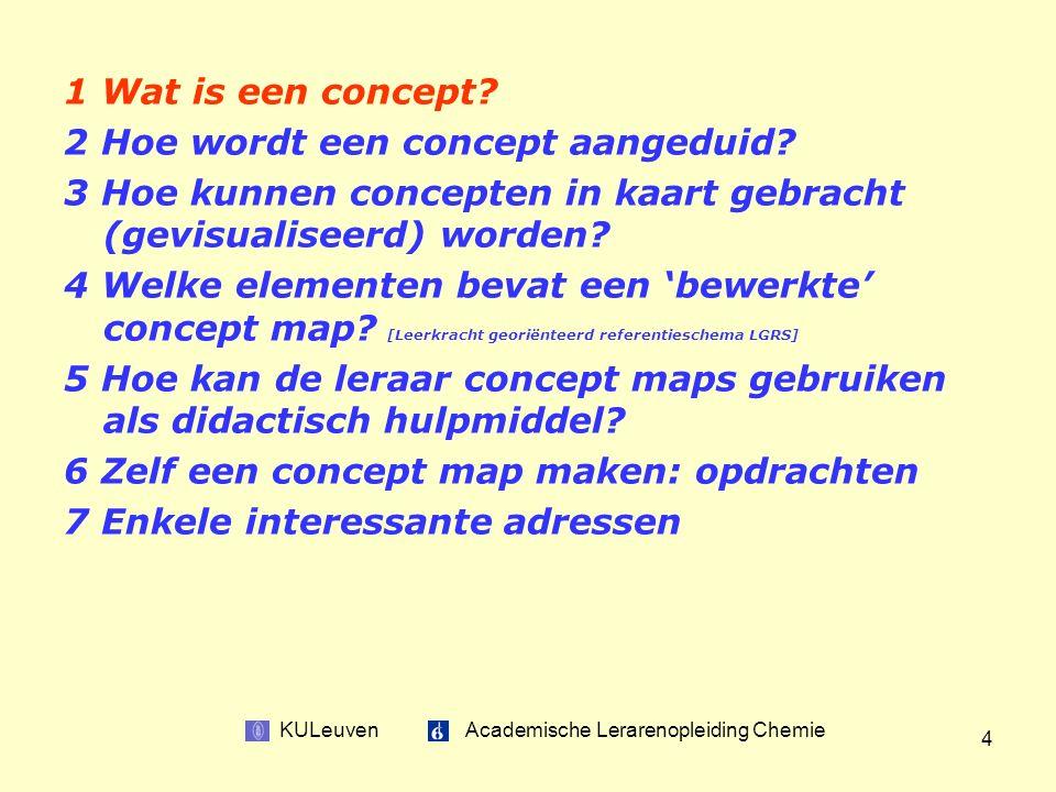 KULeuven Academische Lerarenopleiding Chemie 4 1 Wat is een concept.