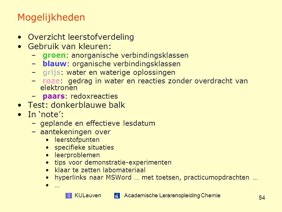 KULeuven Academische Lerarenopleiding Chemie 54 Mogelijkheden Overzicht leerstofverdeling Gebruik van kleuren: – groen: anorganische verbindingsklassen – blauw: organische verbindingsklassen – grijs: water en waterige oplossingen – roze: gedrag in water en reacties zonder overdracht van elektronen – paars: redoxreacties Test: donkerblauwe balk In 'note': –geplande en effectieve lesdatum –aantekeningen over leerstofpunten specifieke situaties leerproblemen tips voor demonstratie-experimenten klaar te zetten labomateriaal hyperlinks naar MSWord … met toetsen, practicumopdrachten … …