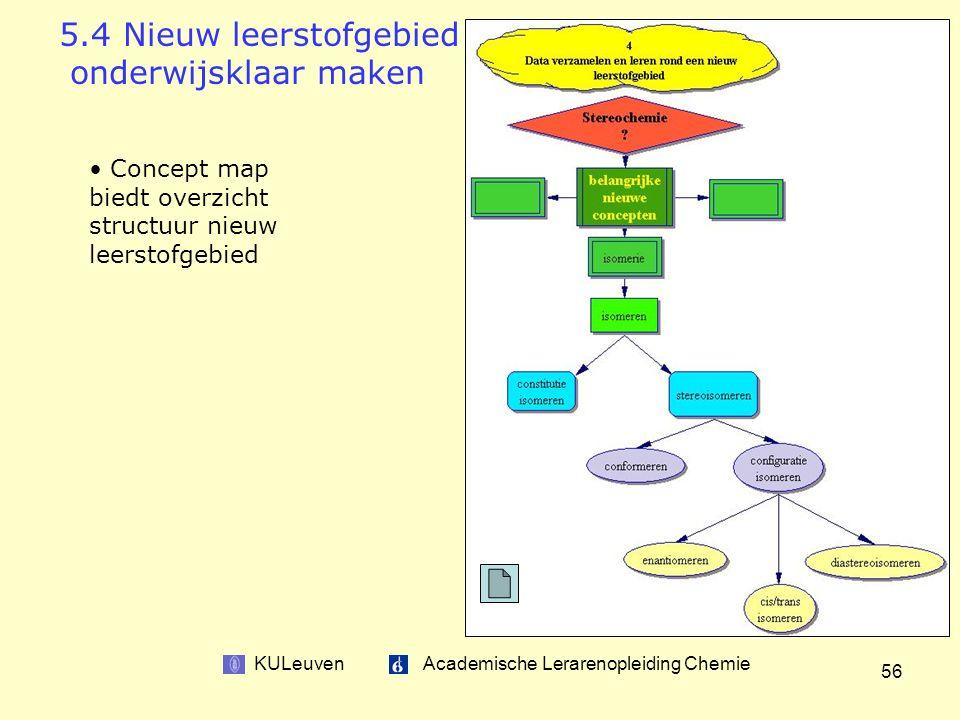 KULeuven Academische Lerarenopleiding Chemie 56 5.4 Nieuw leerstofgebied onderwijsklaar maken Concept map biedt overzicht structuur nieuw leerstofgebied