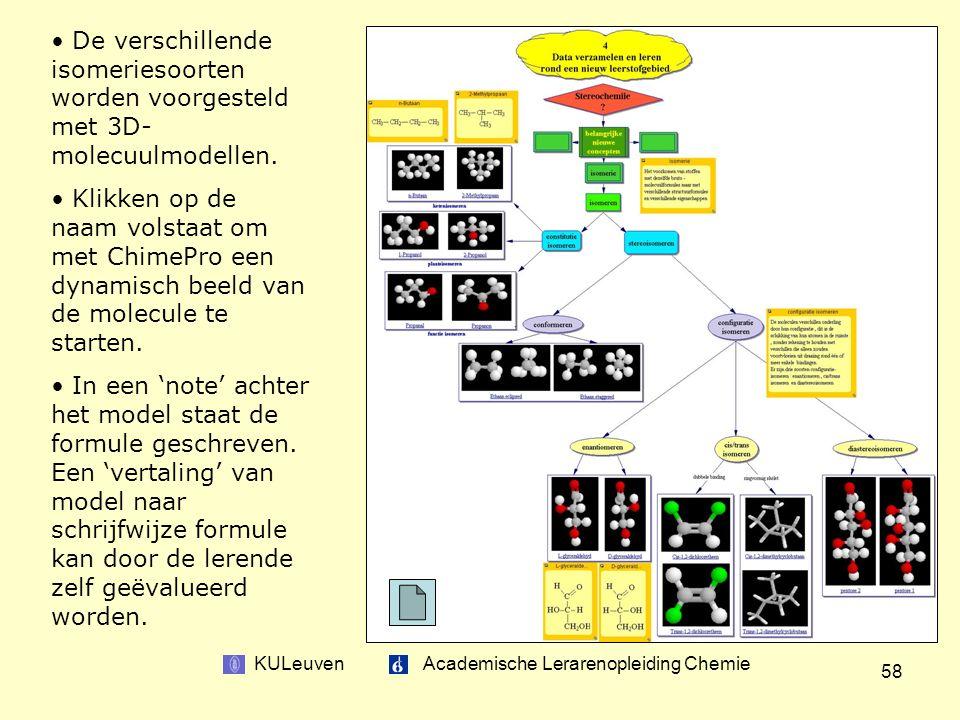 KULeuven Academische Lerarenopleiding Chemie 58 De verschillende isomeriesoorten worden voorgesteld met 3D- molecuulmodellen.