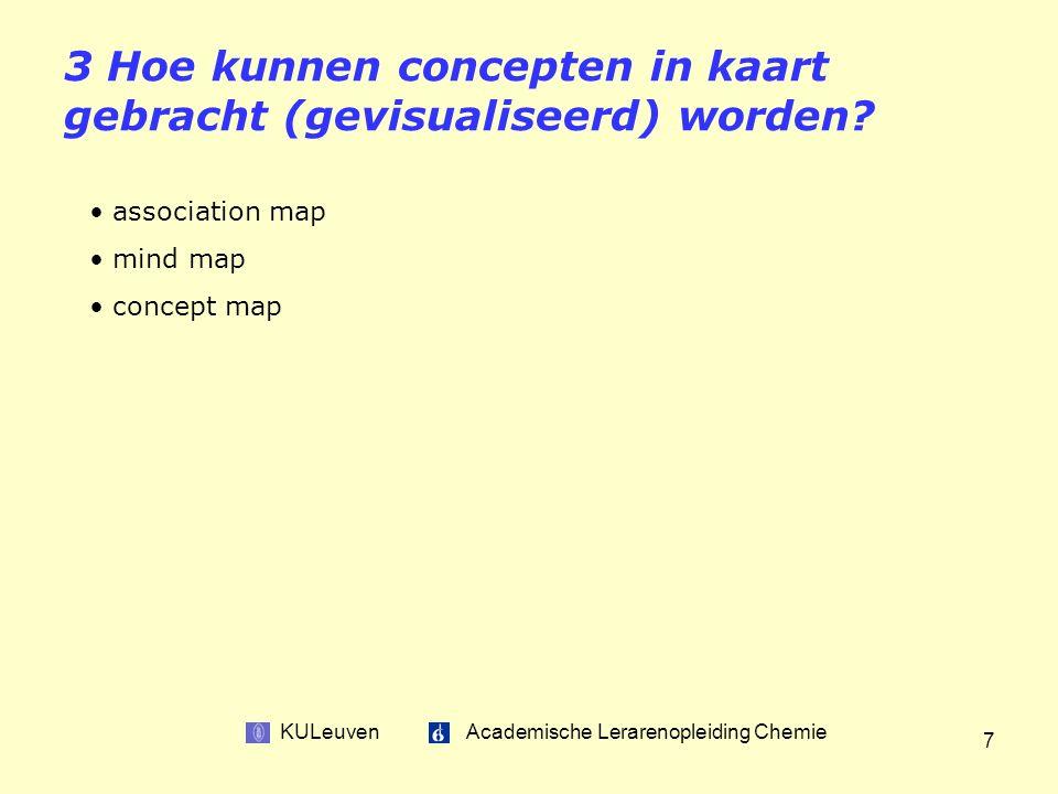 KULeuven Academische Lerarenopleiding Chemie 7 3 Hoe kunnen concepten in kaart gebracht (gevisualiseerd) worden.